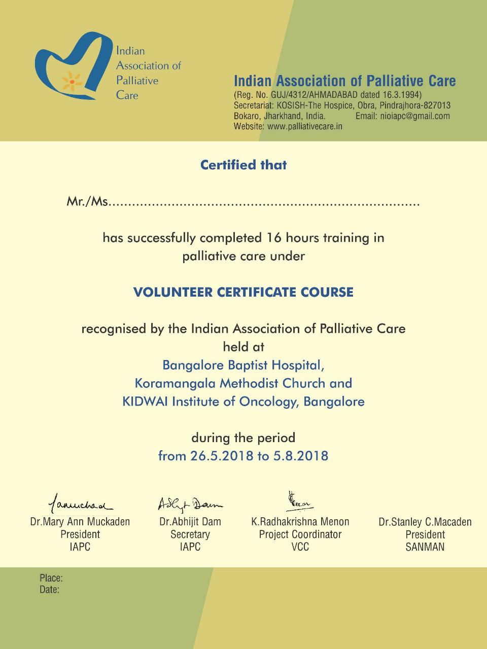 Indian Association Of Palliative Care Volunteers Training In